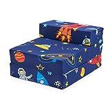 Ready Steady Bed Colchon Plegable para Niños | Silla Plegable Individual para Niños | Ideal para Sala de Estar Dormitorio Sala de Juegos | Puff Cama Plegable - Ligero y Cómodo (Space Boy)