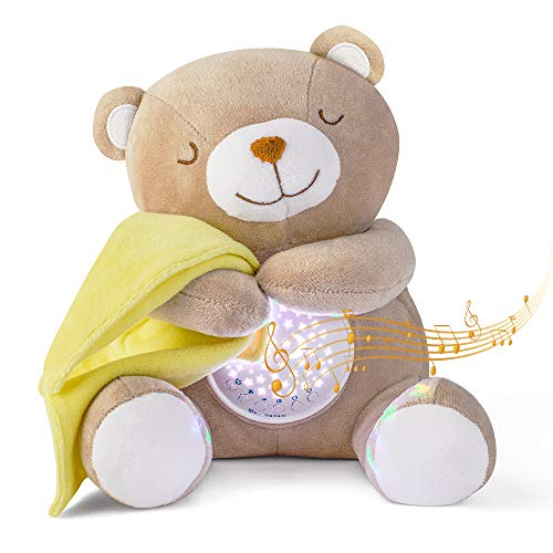Peluche Bebés Musical, APUNOL USB Recargable Proyector Bebes Luces y Musica JugueteTeddy regalos...