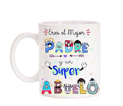 FUNNY CUP Taza Eres un Gran Padre y un Super Abuelo Taza de Regalo para el día de los Padres o...