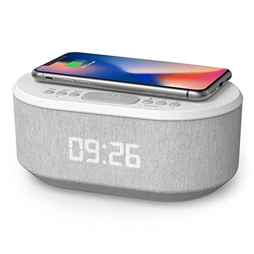 Radio Despertador Digital con Carga Inalambrica, Puerto de carca USB, FM Radio, Bluetooth y Pantalla...