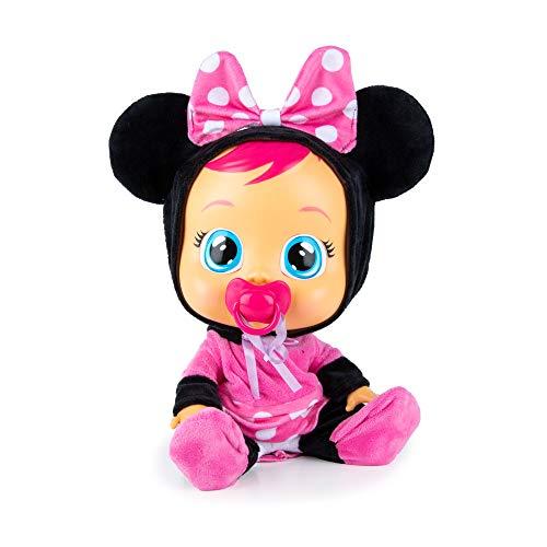 BEBÉS LLORONES Minnie Muñeca interactiva que llora de verdad con chupete y pijama de Minnie,...