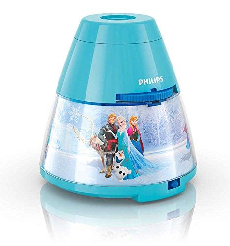 Philips Disney Frozen - Proyector y luz nocturna 2 en 1, LED, luz blanca cálida, bombilla de 0,3 W,...