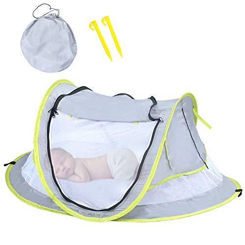 HUSAN Cama portátil de viaje para bebé, tienda de campaña de playa para bebé, UPF 50+,...