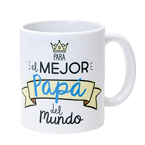 Mopec Taza Cerámica para el Mejor Papá, Porcelana, Blanco, 1 Unidad (Paquete de 1)