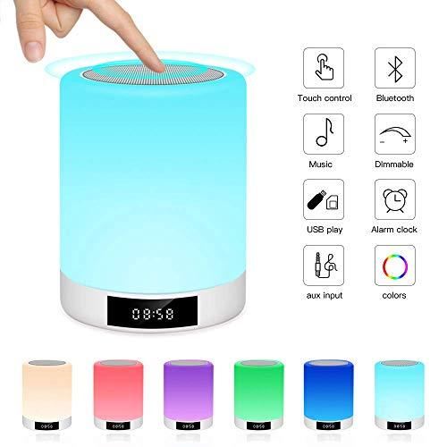 Luces nocturnas Altavoz Bluetooth, Ranipobo Sensor táctil Lámpara de cabecera con reloj...