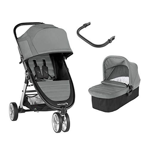 Baby Jogger City Mini 2 Duo Slate - Cochecito compacto de 3 ruedas + capazo + barra delantera en...