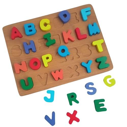 Puzzle de Madera Abecedario para Aprendizaje Temprano En Niños | Juguete Educativo Rompecabezas con...