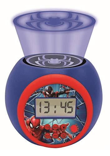 LEXIBOOK- Reloj Despertador con proyector Spiderman Marvel con función de repetición y Alarma, luz...