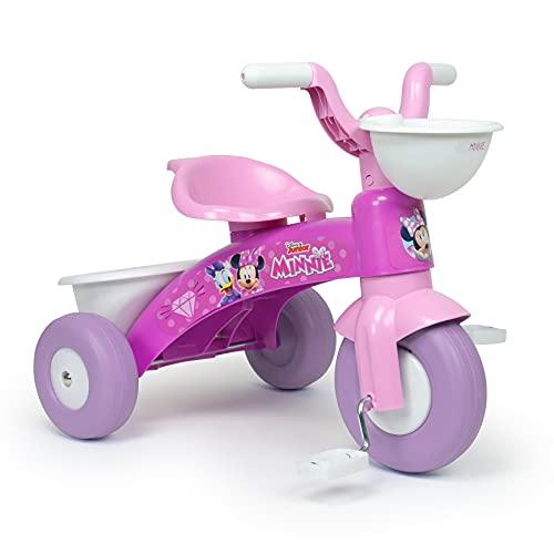 INJUSA - Triciclo Baby Trico Max Minnie Mouse Color Rosa con Cesta Delantera y Cubeta Trasera...