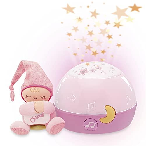Chicco Buenas Noches Estrellitas Rosa, Lámpara Bebé Multicolor con Luz Quitamiedos y Proyector de...