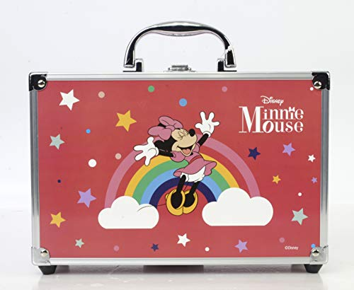 Minnie Mouse Makeup Train Case - Maletín de Maquillaje de 2 Pisos - Set de Maquillaje para Niñas -...