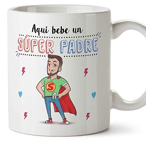 MUGFFINS Taza Papá - Aquí Bebe un Super Padre - Taza Desayuno/Idea Regalo Día del Padre....