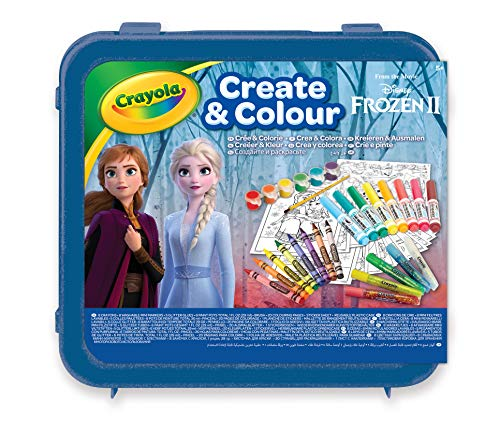 Crayola- Maletín Create & Color Disney Frozen 2, para dibujar y colorear, 50 Pzs, Color azul...