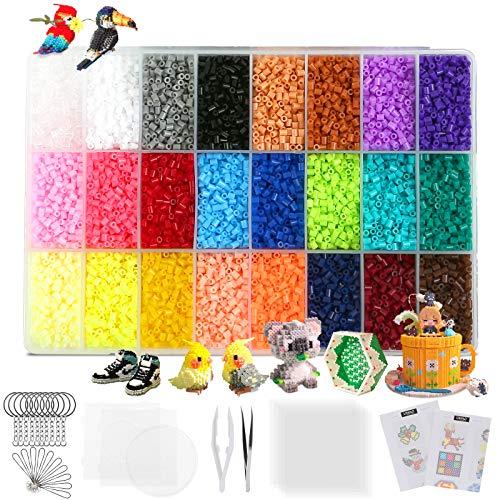 LIHAO 24000 Mini Cuentas y Abalorios Plásticos Cuentas para Planchar de 24 Colores para DIY...