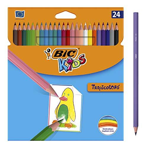 BIC Kids Lápices de Colores para Niños, Óptimo para material escolar,Tropicolors, Colores...