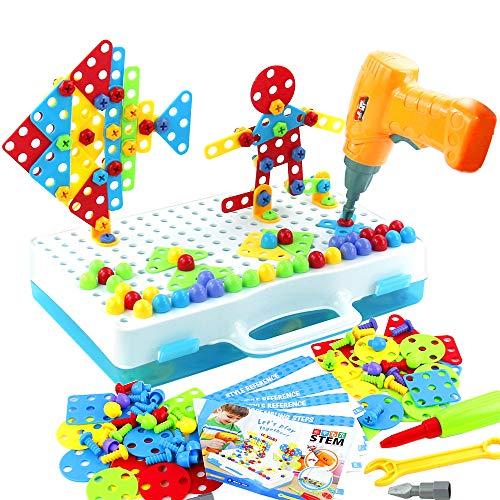 jerryvon Juguetes Montessori Puzzle 3D Mosaicos con Rejilla para Niños Juguete de Construcción...