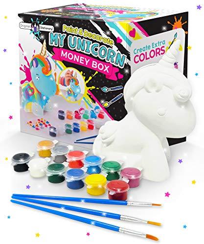 Original Stationery Regalos para Niñas- Hucha Unicornio para Pintar - Kit Pintura para Niñas y...