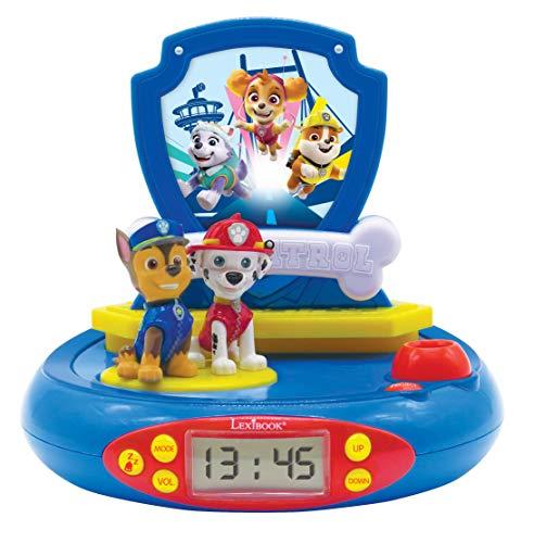 Patrulla Canina Paw Patrol Chase Reloj proyector, Luz de Noche incorporada, proyección de Tiempo en...
