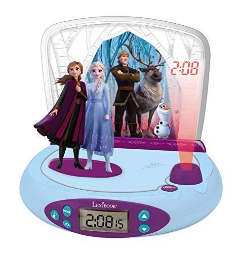 LEXIBOOK Disney Frozen 2-Reloj Despertador con Proyección de la Hora, en el Techo, Efectos de...