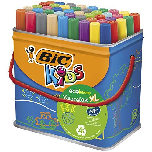 Bic Kids Rotuladores Lavables para Niños, Óptimo para material escolar,Visacolor XL, Punta Gruesa,...