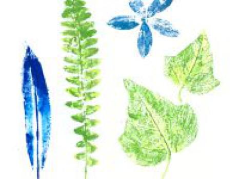 Manualidades infantiles: Pintar con hojas