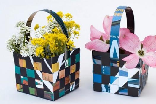 Cestas de papel llenas de flores…