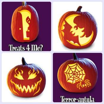 Plantillas gratis para decorar calabazas de Halloween