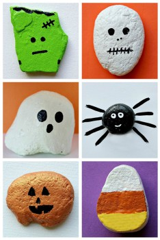 Manualidades de Halloween para niños: pintar piedras