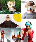 5 máscaras de cartón y papel para Halloween