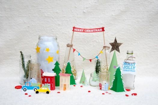 Una aldea navideña para imprimir gratis