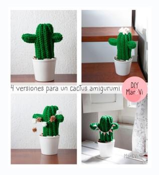 4 versiones para un cactus amigurumi