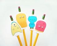 Imprime gratis estos divertidos adornos para lápices