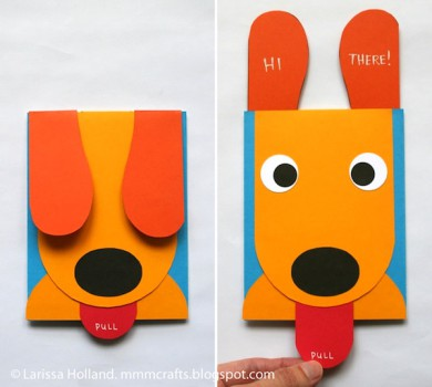 Una tarjeta casera con un perrito ¡que saca la lengua!