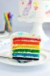 Una tarta de cumpleaños con los colores del arco iris