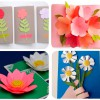 4 tarjetas con flores para el Día de la Madre