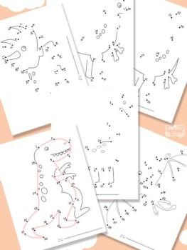 Dibujos para unir puntos ¡de dinosaurios!