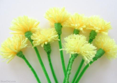 Manualidades con lana, cómo hacer flores fáciles