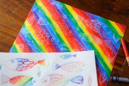 Manualidades para niños, transfer arco iris con ceras