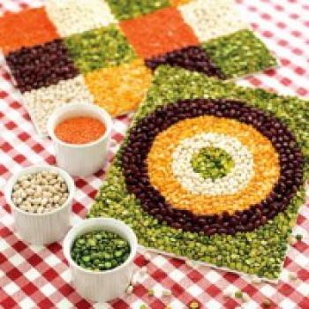 Manualidades para niños: Mosaicos de legumbres