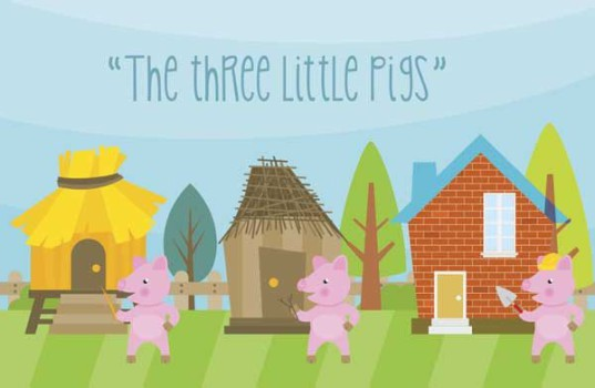 "Cuento de Los Tres Cerditos en inglés ""The three little pigs"""