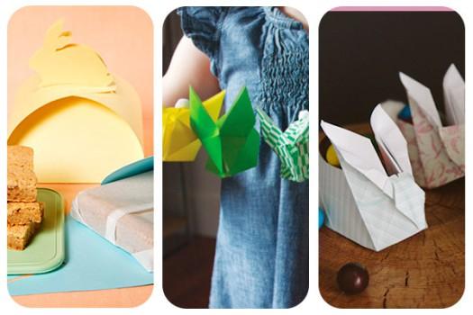 3 conejitos de origami para Pascua