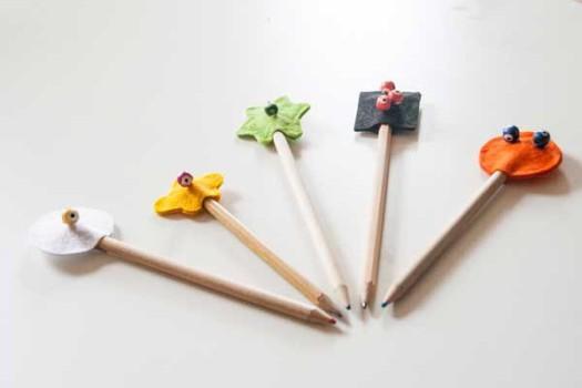 Lápices decorados con fieltro