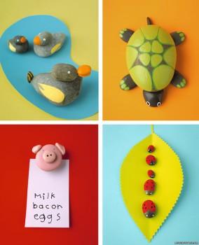 Manualidades infantiles con piedras pintadas
