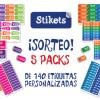 Gana 5 Packs Stikets de 140 etiquetas personalizadas
