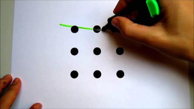 ¿Eres capaz de unir 9 puntos con 4 líneas rectas?