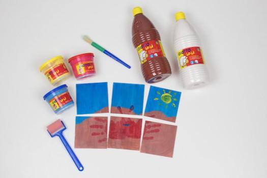 Manualidad para bebés: puzzle con posavasos