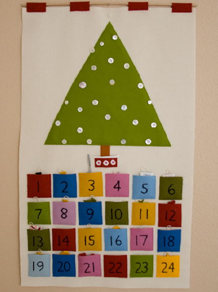 Calendario de Adviento en fieltro, muy sencillo