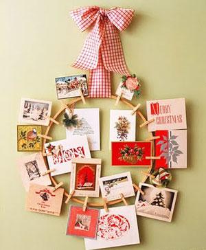 Corona de tarjetas de Navidad