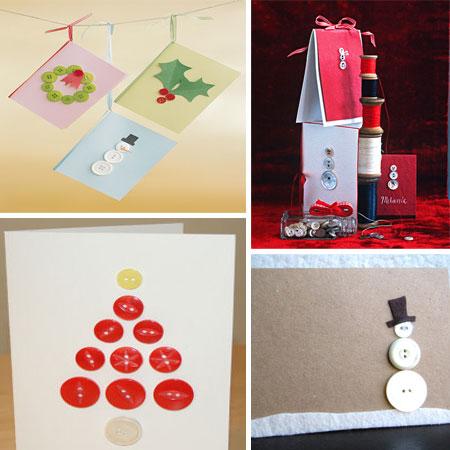 Felicitaciones de navidad con botones pequeocio - Tarjetas de navidad hechas por ninos ...