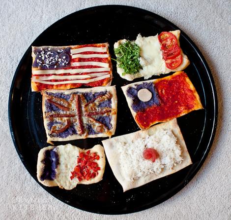 Banderas del mundo pizzas